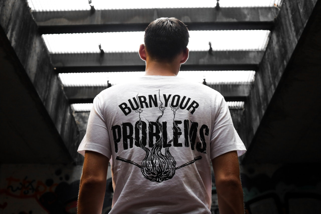 Male model in a positive quote t-shirt
